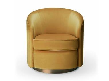 Swivel upholstered velvet armchair with armrests SWIVEL | Armchair