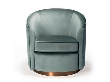 Swivel velvet armchair with armrests SWIVEL | Armchair
