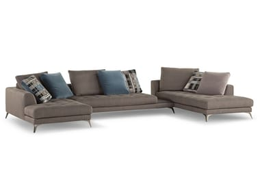 Sectional fabric sofa with removable cover SYMBOLE