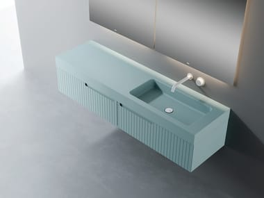 Single wall-mounted vanity unit with Silexpol® top SYNERGY | Vanity unit