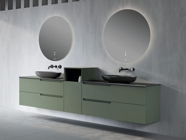 Double wall-mounted vanity unit with Silexpol® top SYNERGY | Wall-mounted vanity unit