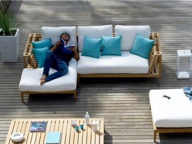 Sofá de jardín composable de teca SYNTHESIS | Sofá de jardín composable