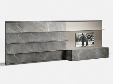 Anbau- TV- Wohnwand aus Glas SYSTEM 01