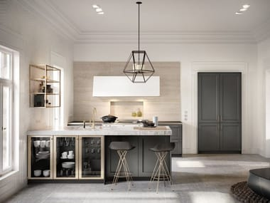 Steel and wood kitchen with peninsula SieMatic CLASSIC - SE 2002 RF
