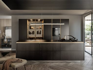Kitchen with island without handles SieMatic SLX