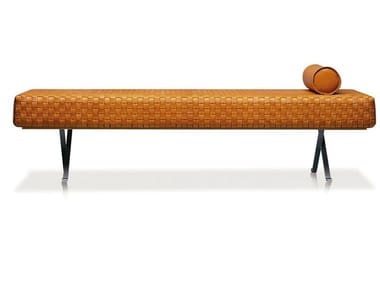 Upholstered tanned leather Chaise longue SIGMUND