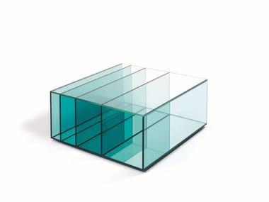 Tavolino quadrato in cristallo con vano contenitore DEEP SEA | Tavolino quadrato