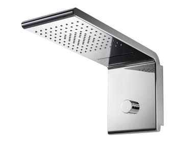 Wall-mounted steel overhead shower SYNCRO RAIN - 3 WAYS
