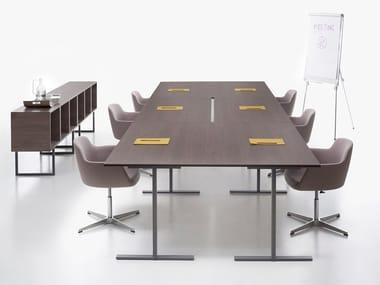 Tavolo da riunione rettangolare con sistema passacavi T-LEG | Tavolo da riunione