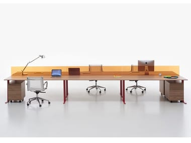 Multiple office workstation with desk screens T-LEG | Multiple office workstation