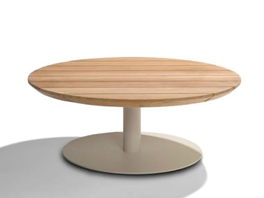 Low round teak garden side table T-TABLE   Round coffee table