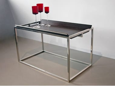 Stainless steel and wood side table T01