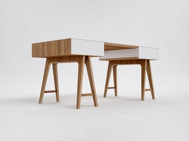Rectangular wood veneer writing desk with drawers T4