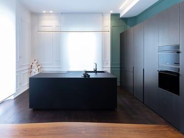 Linear kitchen with an island in fenix T45 EVO | Kitchen