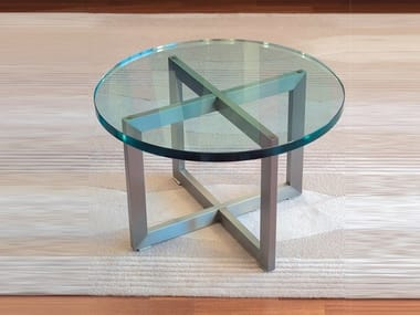 Low round glass coffee table TABLE BASSE 991