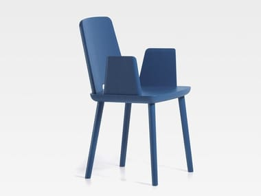 Ash chair with armrests TABLET | Chair with armrests