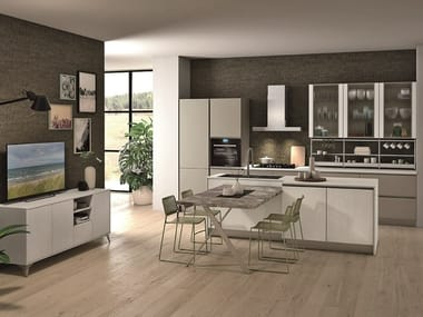 Kitchen with island with integrated handles TABLET | Kitchen with island