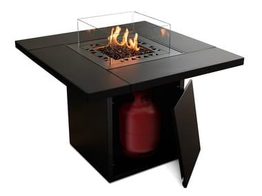 Caminetto a gas da esterno freestanding in acciaio zincato TABLETOP (FOR SQUARE)