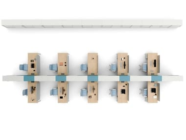 Postazione di lavoro in nobilitato con pannelli divisori con scaffale integrato TAKE OFF   Postazione di lavoro in nobilitato