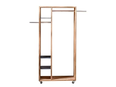 Solid wood hallway unit with casters TALUS | Coat rack