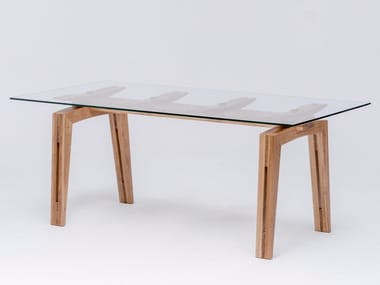 Rectangular wood and glass dining table TAMAZO AIR