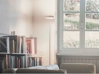 Lampada da terra a LED a luce diretta e indiretta in acciaio TAMBÙ | Lampada da terra