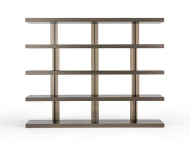 Open modular wood and glass bookcase TANGO T