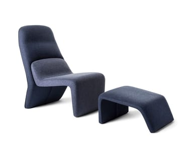 Fabric armchair with footstool TAPE