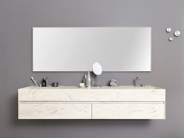 Double rectangular Corian® washbasin with integrated countertop TAPE TOP