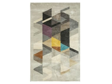 Handmade rectangular rug TAQ-183 Classic Gray/Medium Gray