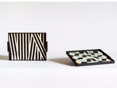 Rectangular wooden tray TARSIA