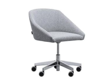 Swivel upholstered fabric chair with aluminium base TATI SE01 BASE 23
