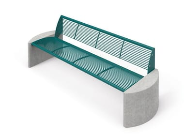 Galvanized steel Bench with back TAURUS | Bench with back