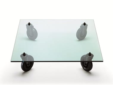 Square float glass coffee table with casters TAVOLO CON RUOTE