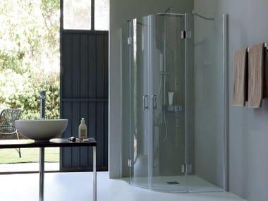 Box doccia angolare semicircolare con porta a battente TB61 | Box doccia angolare