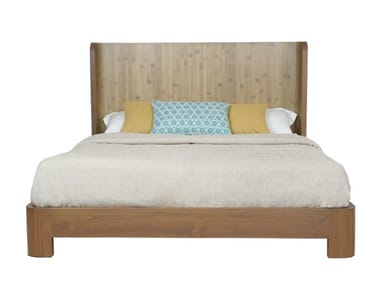 Wooden bed with high headboard TEABU | Bed