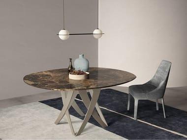 Oval Dark Emperador marble table TEBE   Oval table