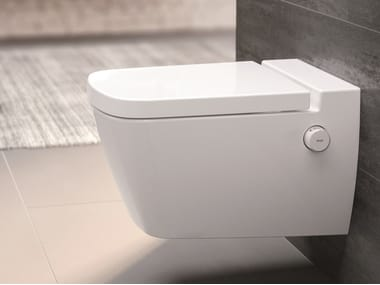 Wall-hung ceramic toilet with bidet TECEone