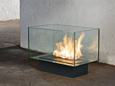 Freestanding bioethanol glass and steel fireplace TEKA
