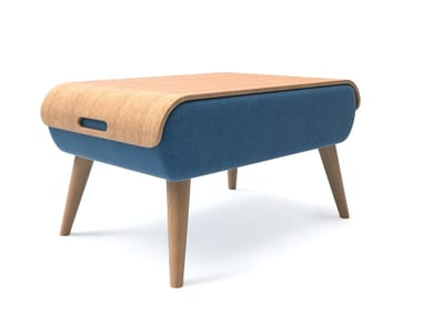 Fabric and ash wood stool / coffee table TEMPO