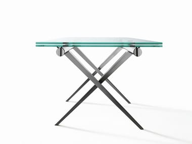 Extending rectangular crystal and steel table TENDER