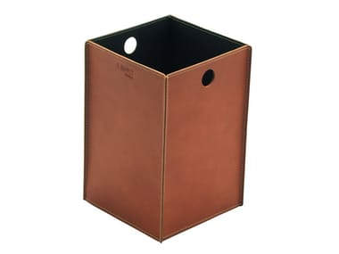 Bonded leather waste paper bin TEODORO