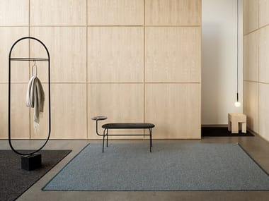 Woven bouclé rug in pure wool and linen TERRAZZO