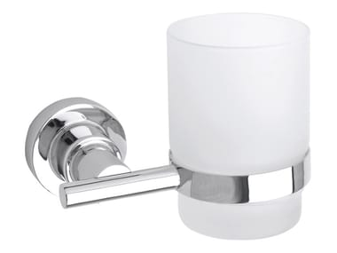 Wall-mounted adhesive satin glass toothbrush holder TESA® LUUP 40299