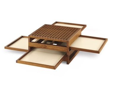 Low solid wood coffee table with tray for living room TETRA