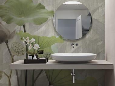 Vinyl or fyber glass wallpaper TEXTILE WHITE LOTUS