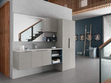 Laundry room cabinet with mirror for washing machine THAI 327
