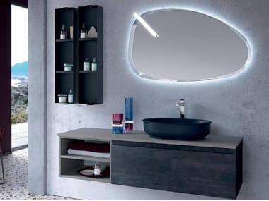 Wall-mounted vanity unit with cabinets THAI 311