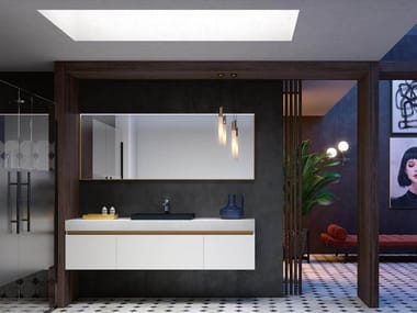 Wall-mounted vanity unit with mirror THAI 317
