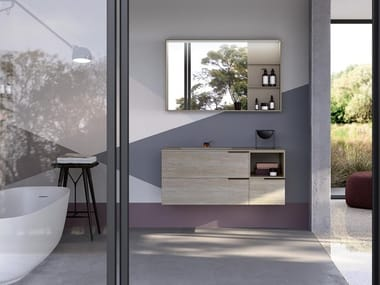 Wall-mounted vanity unit with mirror THAI 324